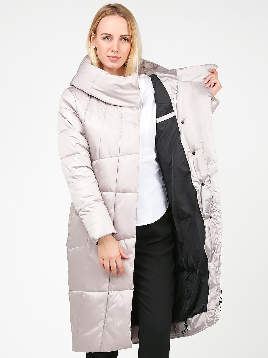 Купить оптом Куртка зимняя женская молодежная стеганная бежевого цвета 9163_28B