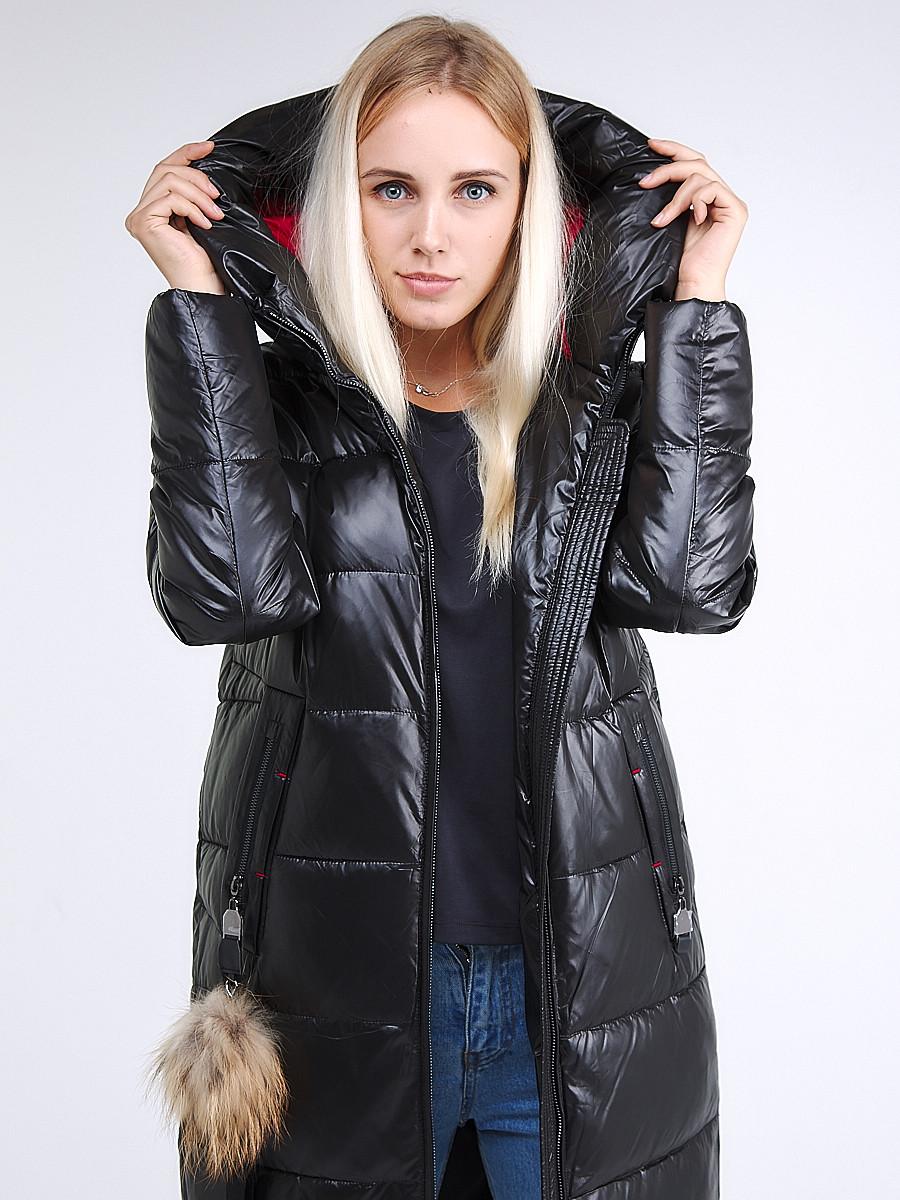 Купить оптом Куртка зимняя женская молодежное черного цвета 9175_01Ch в Казани