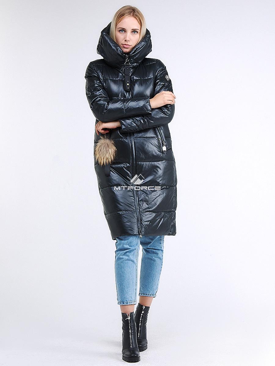 Купить оптом Куртка зимняя женская молодежное темно-серого цвета 9175_03TC в  Красноярске