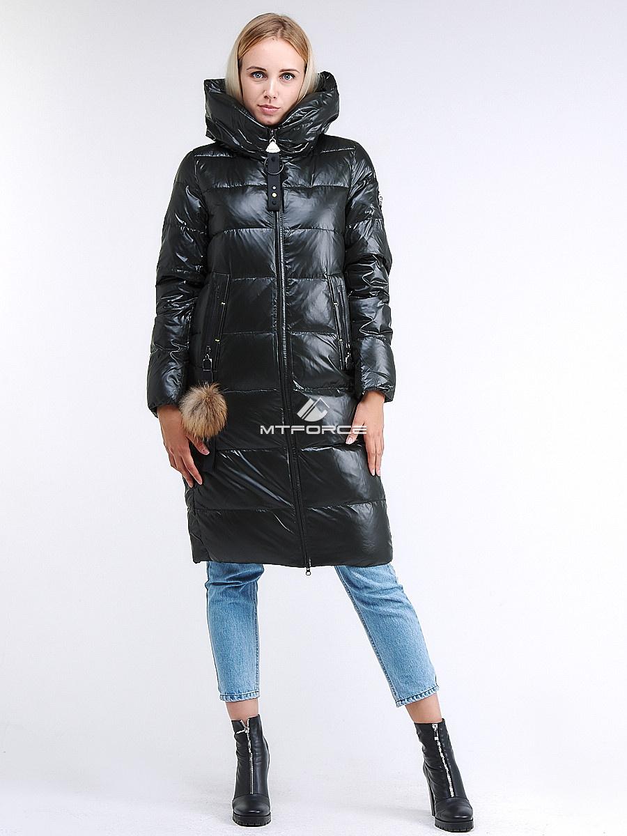Купить оптом Куртка зимняя женская молодежное темно-зеленого цвета 9175_13TZ в  Красноярске