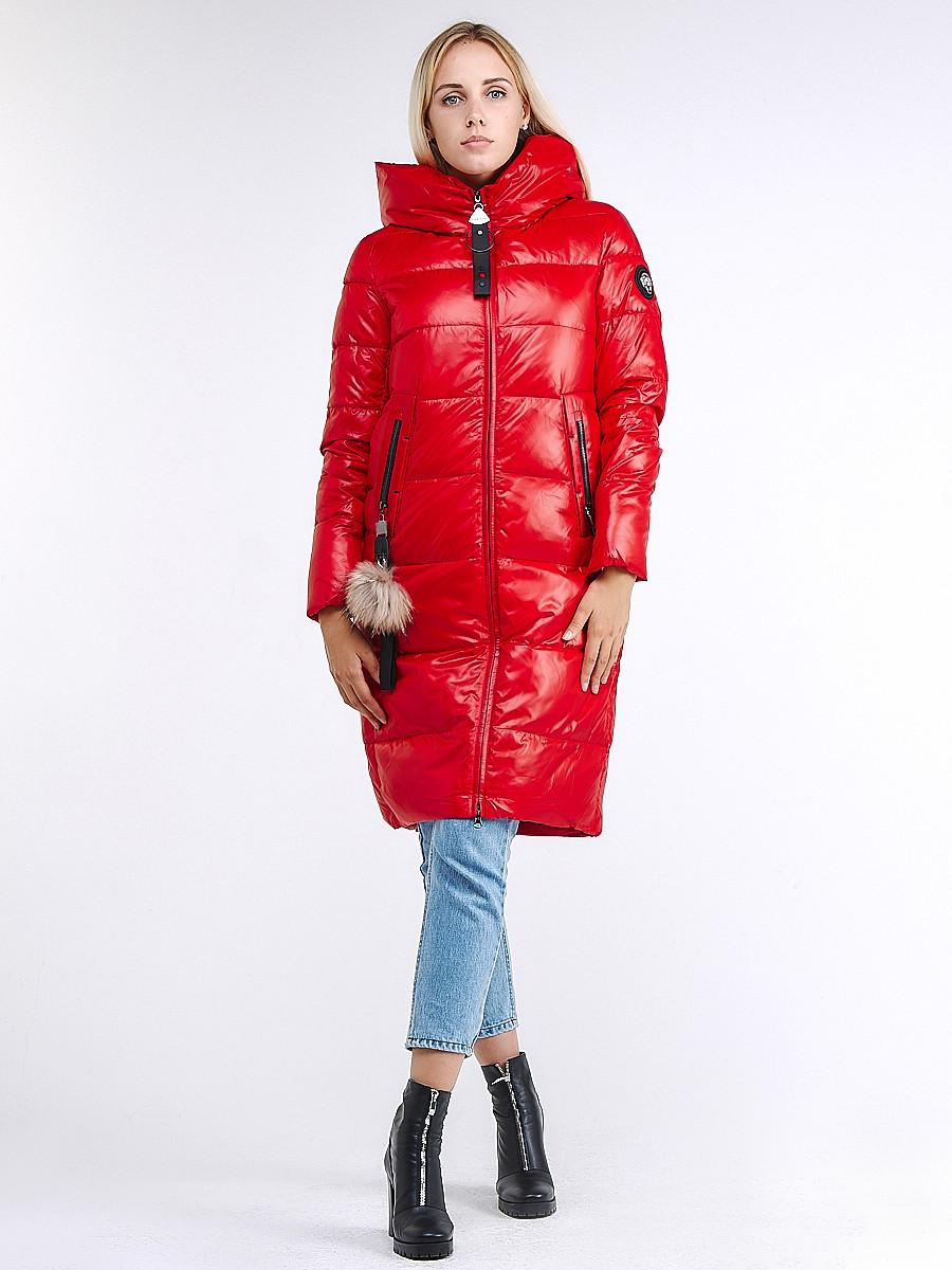 Купить оптом Куртка зимняя женская молодежное красного цвета 9175_14Kr в Казани