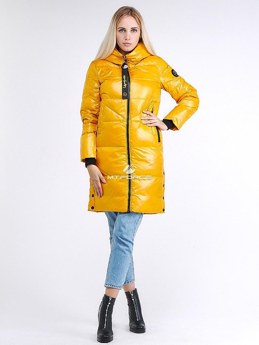 Купить оптом Куртка зимняя женская молодежная желтого цвета 9179_40J в Казани