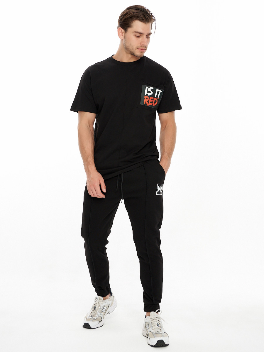 Купить оптом Костюм джоггеры с футболкой черного цвета 9181Ch