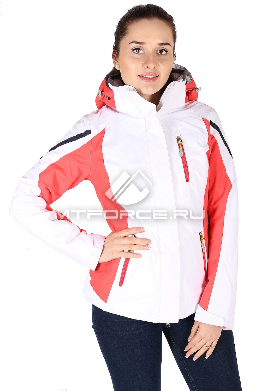 Купить                                  оптом Куртка спортивная женская весна бело-красного цвета 930BK