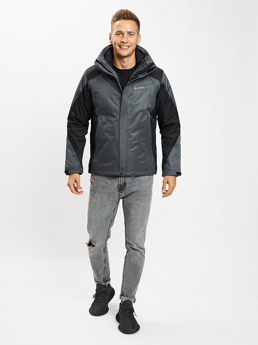 Купить оптом Куртка демисезонная 3 в 1серого цвета 93213Sr в Екатеринбурге