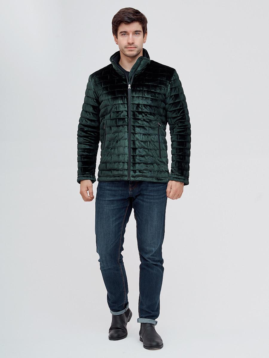 Купить оптом Куртка велюровая классическая Valianly темно-зеленого цвета 93352TZ в Екатеринбурге