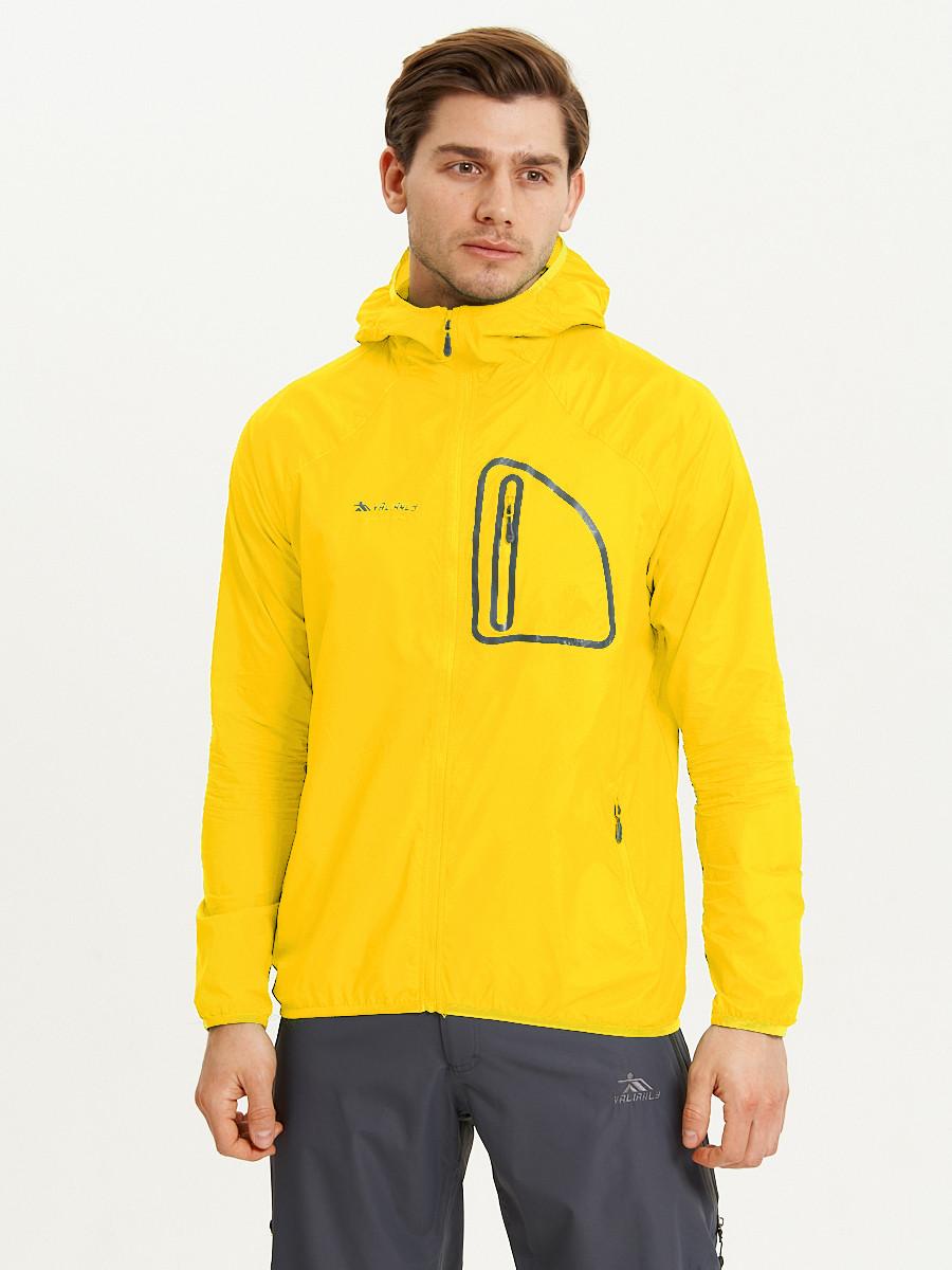 Купить оптом Ветровка спортивная Valianly мужская желтого цвета 93419J в Екатеринбурге