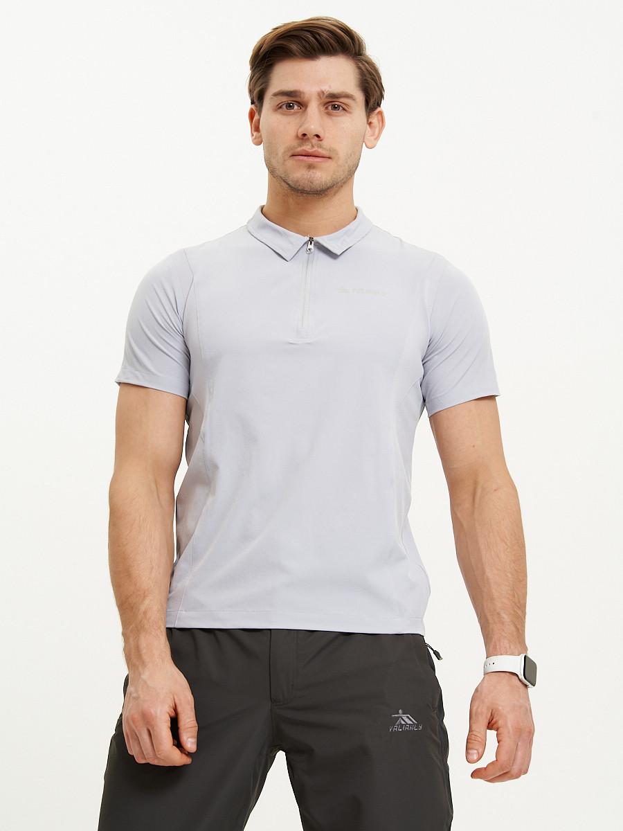 Купить оптом Футболка поло мужская светло-серого цвета 93424SS в Екатеринбурге