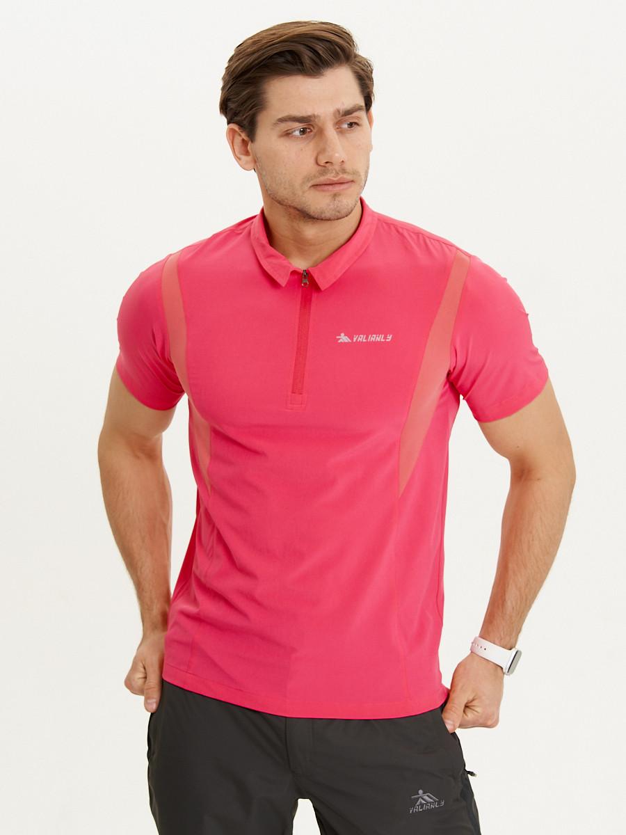 Купить оптом Футболка поло мужская розового цвета 93424R в Екатеринбурге