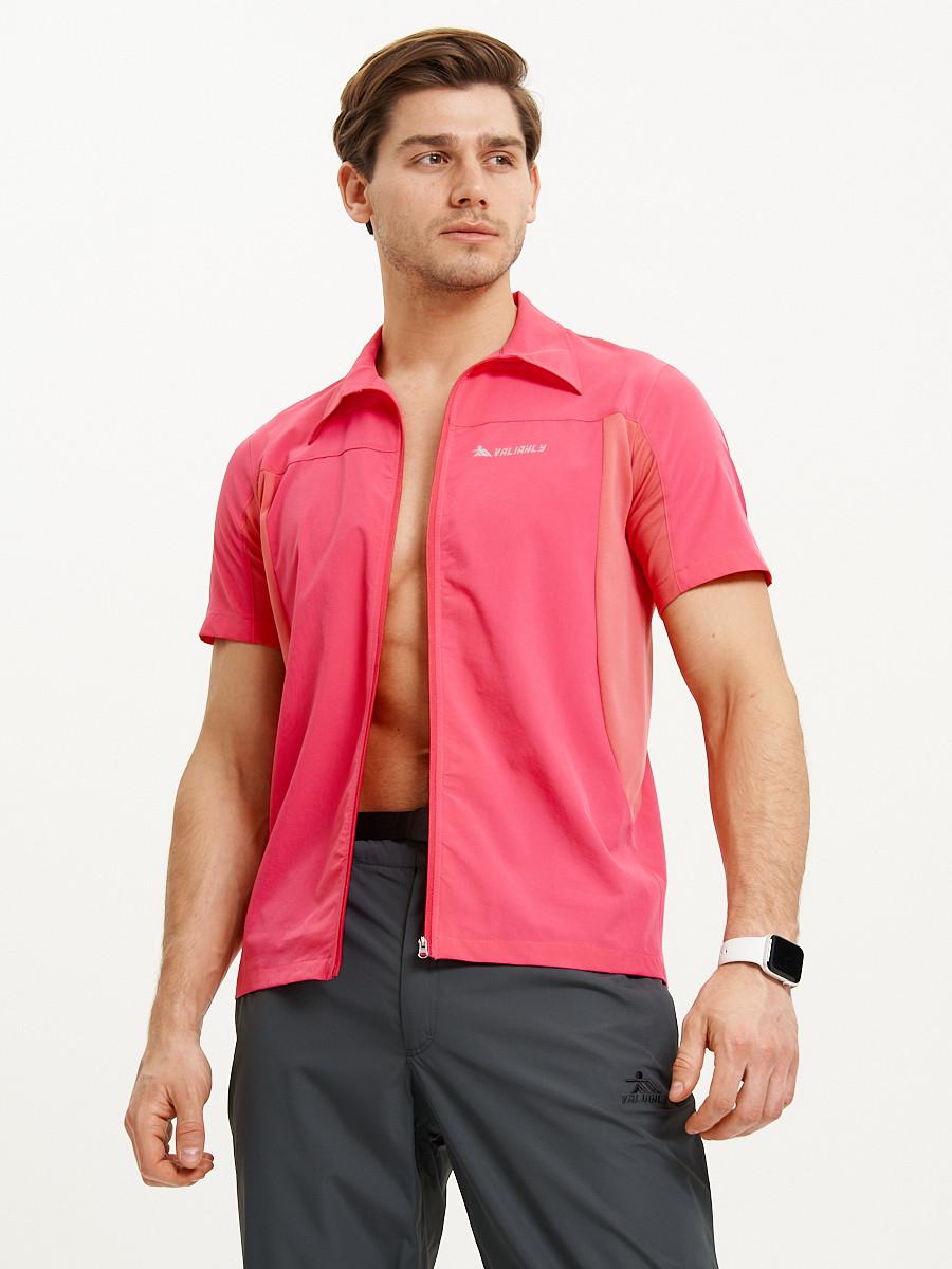 Купить оптом Футболка спортивная поло Valianly мужская розового цвета 93426R