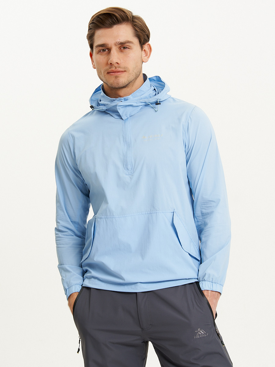 Купить оптом Анорак ветровка Valianly мужская голубого цвета 93430Gl в Казани