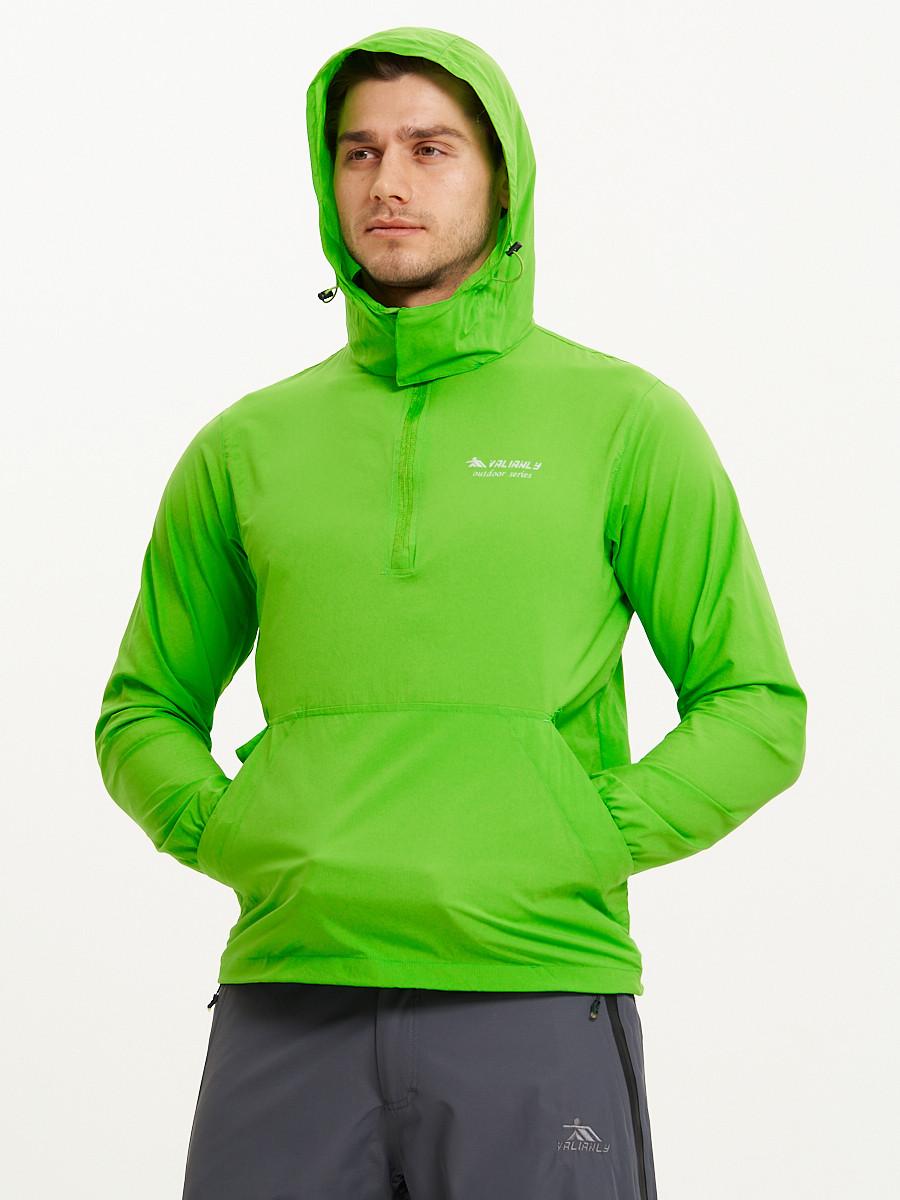 Купить оптом Анорак ветровка Valianly мужская зеленого цвета 93430Z в Казани