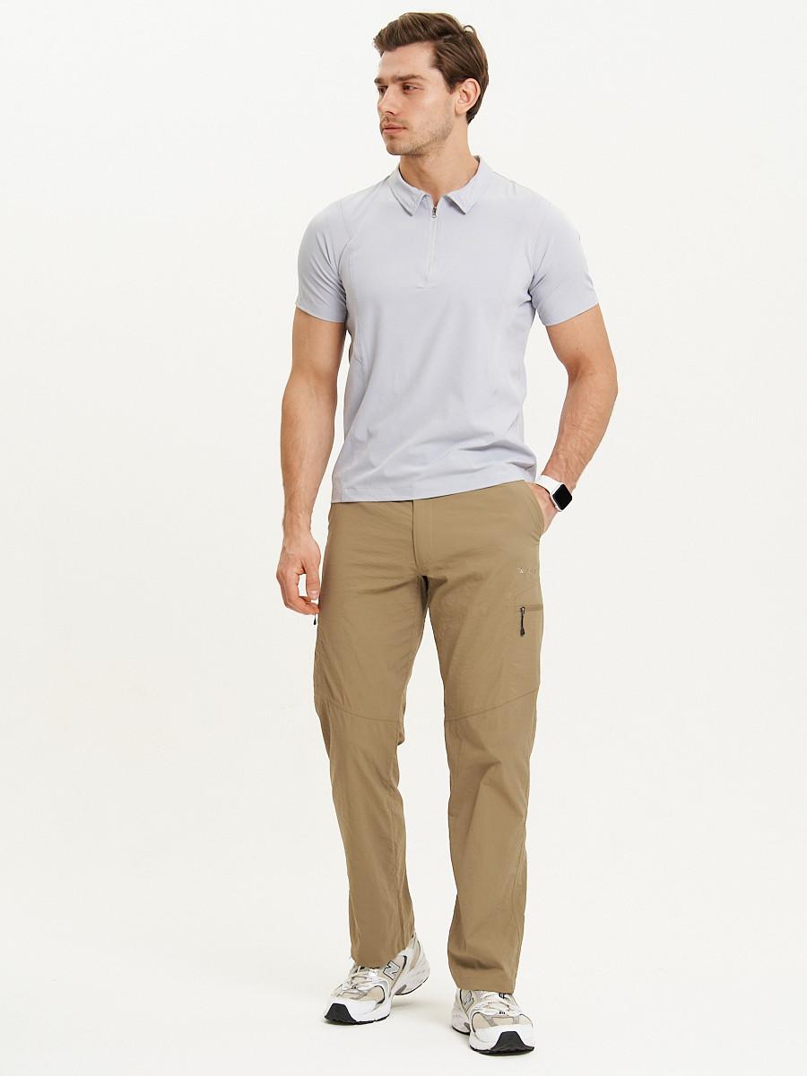Купить оптом Спортивные брюки Valianly мужские бежевого цвета 93435B в Екатеринбурге