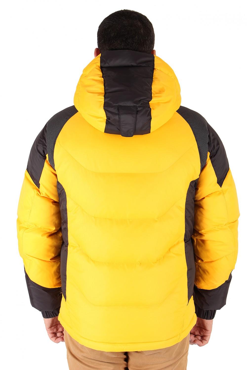 Купить оптом Куртка зимняя мужская желтого цвета 9406J в Екатеринбурге