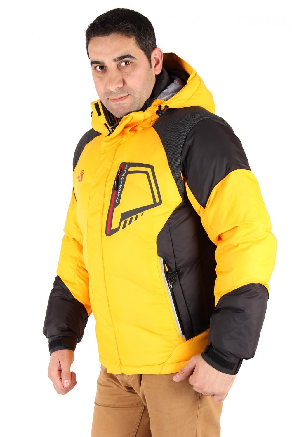 Купить оптом Куртка зимняя мужская желтого цвета 9406J в Челябинске