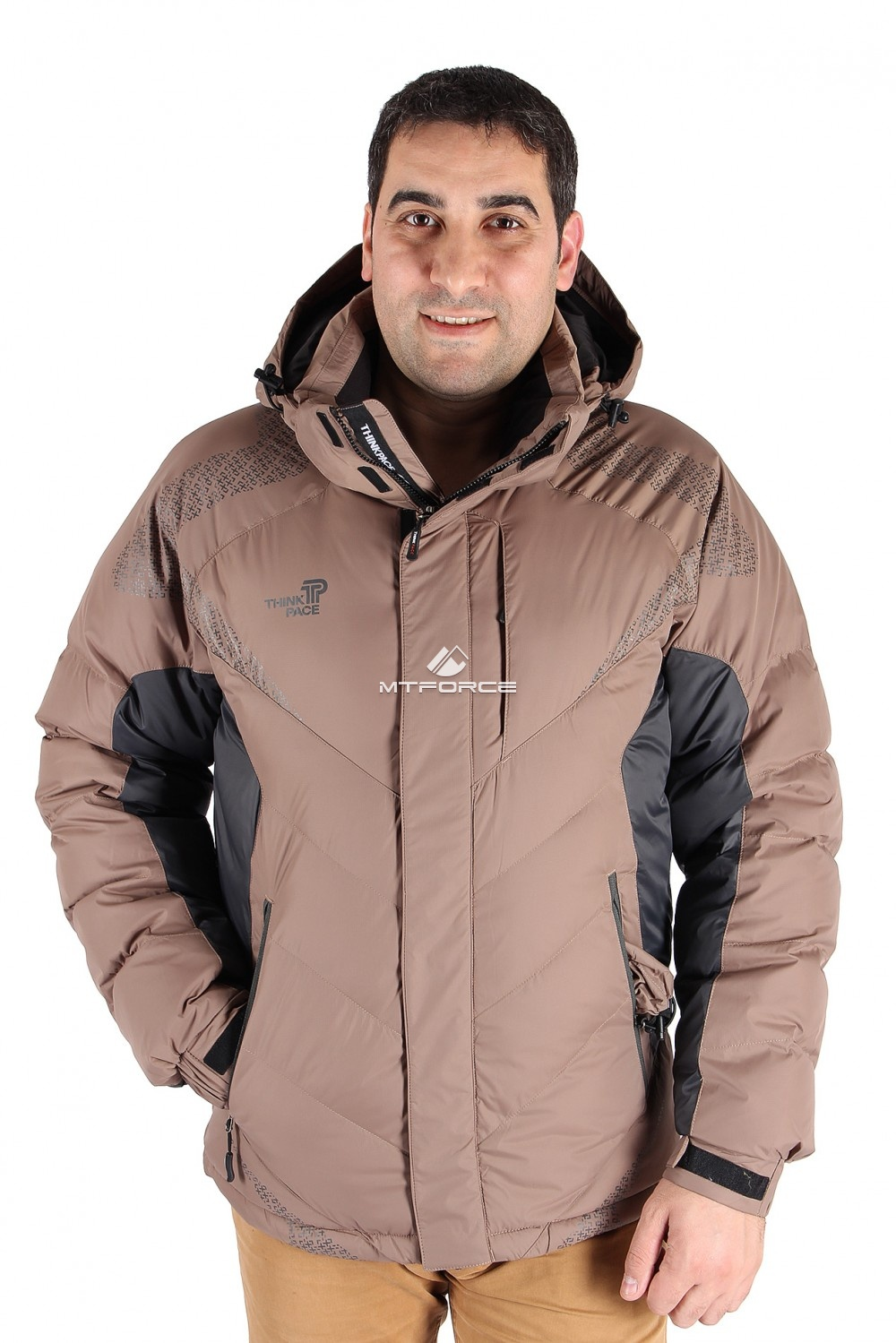 Купить                                  оптом Куртка зимняя мужская коричневого цвета 9421K в Санкт-Петербурге