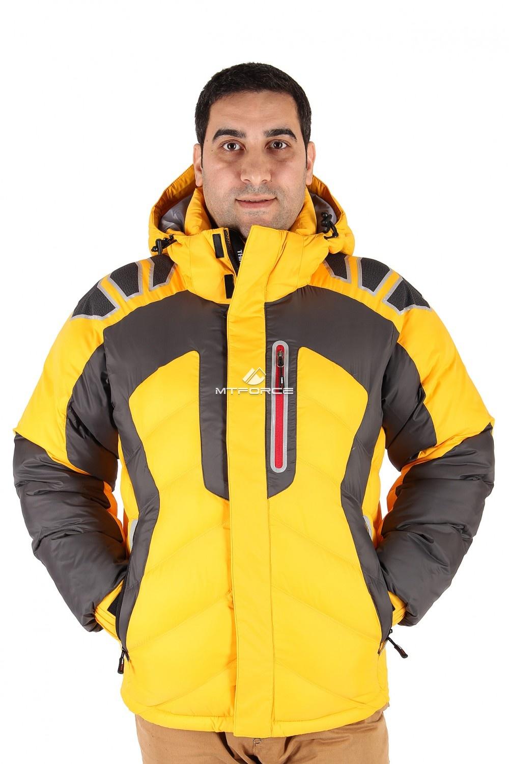 Купить оптом Куртка зимняя мужская желтого цвета 9439J