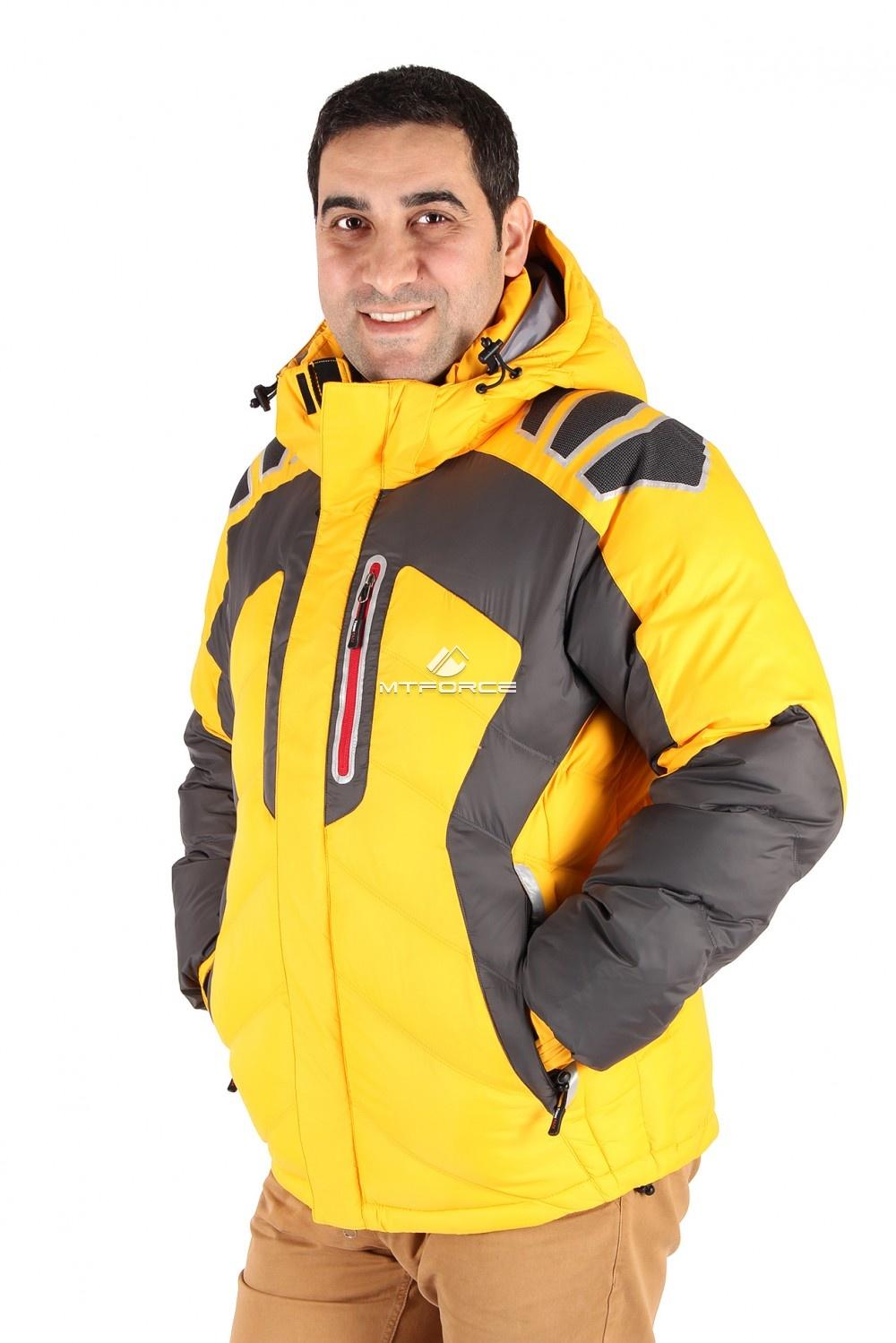 Купить оптом Куртка зимняя мужская желтого цвета 9439J в Перми