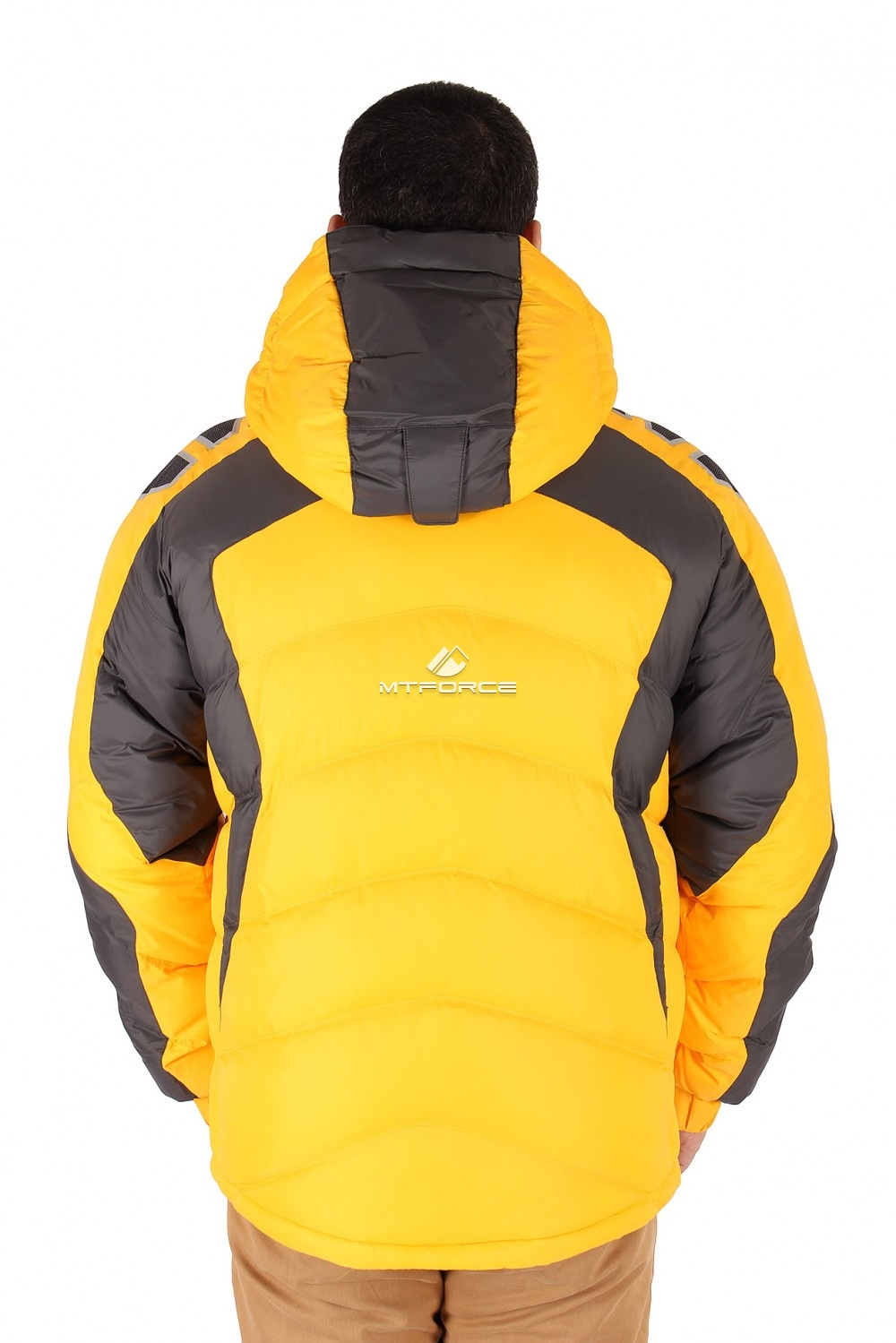 Купить оптом Куртка зимняя мужская желтого цвета 9439J в Нижнем Новгороде