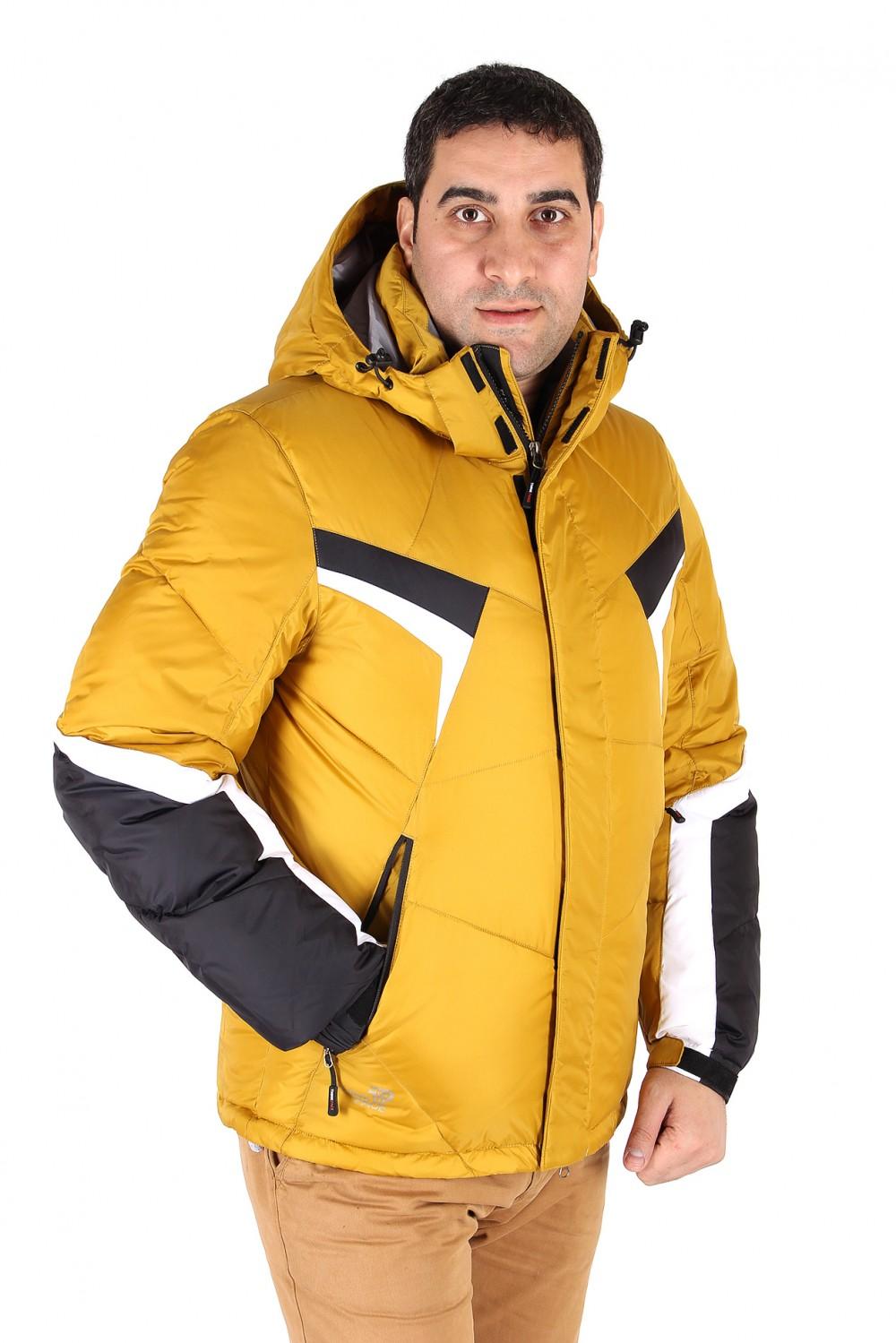 Купить оптом Куртка зимняя мужская горчичного цвета 9440G в Челябинске