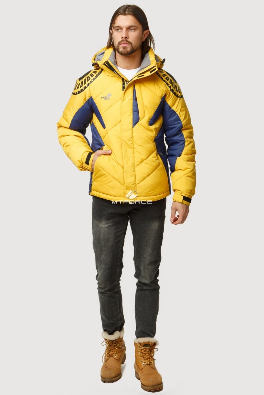 Купить оптом Куртка зимняя мужская желтого цвета 9441J в Нижнем Новгороде