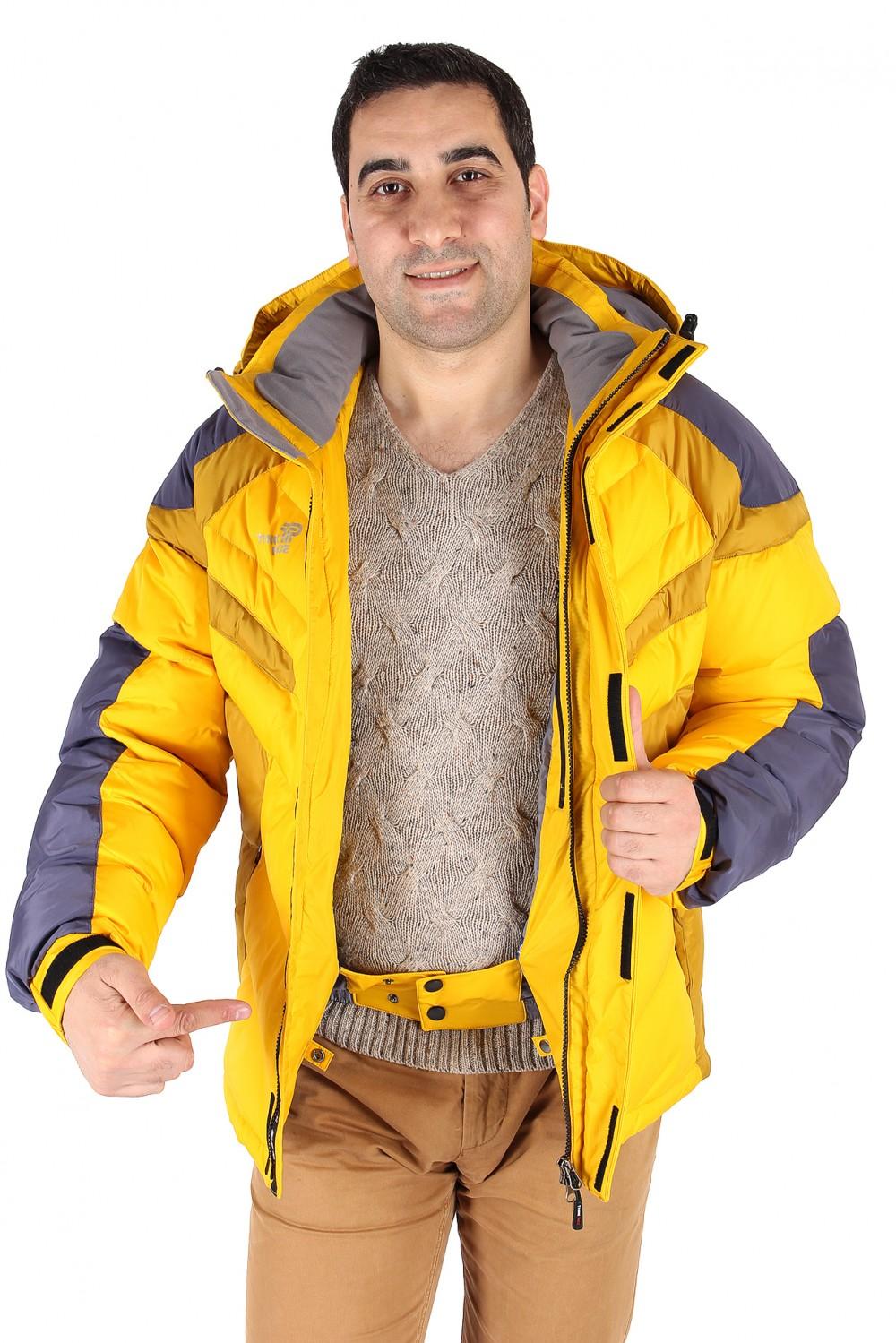 Купить оптом Куртка зимняя мужская желтого цвета 9453J в Омске