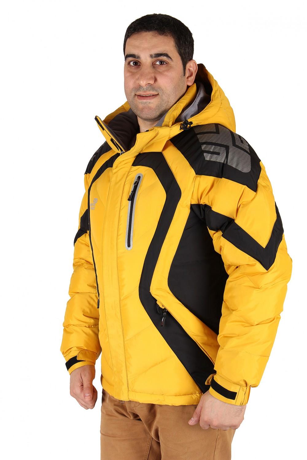 Купить оптом Куртка зимняя мужская желтого цвета 9455J в Новосибирске
