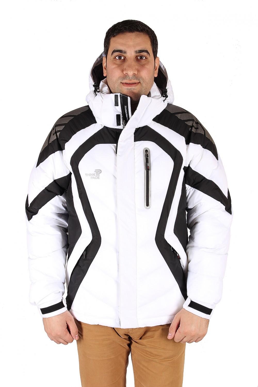 Купить оптом Куртка зимняя мужская белого цвета 9455Bl в Санкт-Петербурге