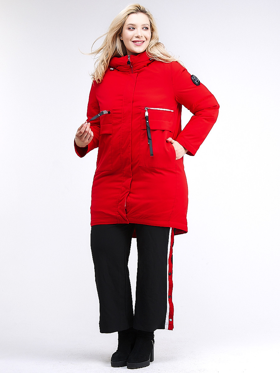 Купить оптом Куртка зимняя женская молодежная красного цвета 95-906_4Kr в Екатеринбурге