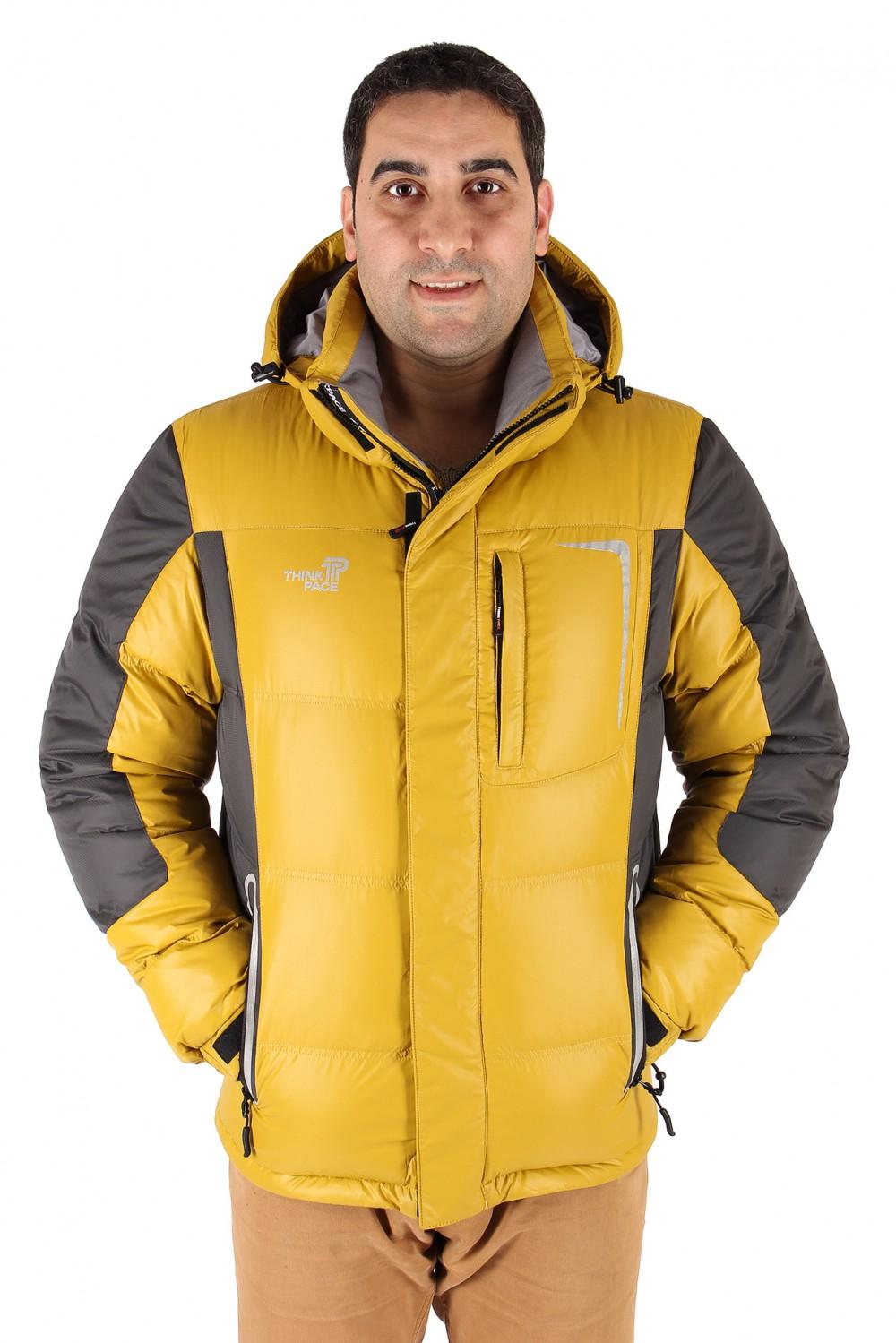 Купить оптом Куртка пуховик мужская горчичного цвета 9573G в Перми