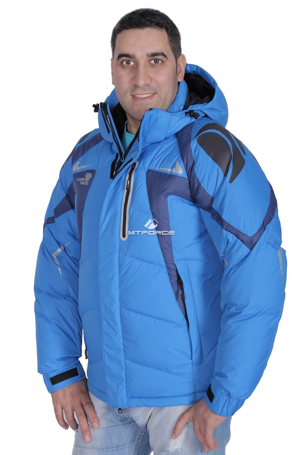 Купить оптом Куртка пуховик мужская синего цвета 9663S