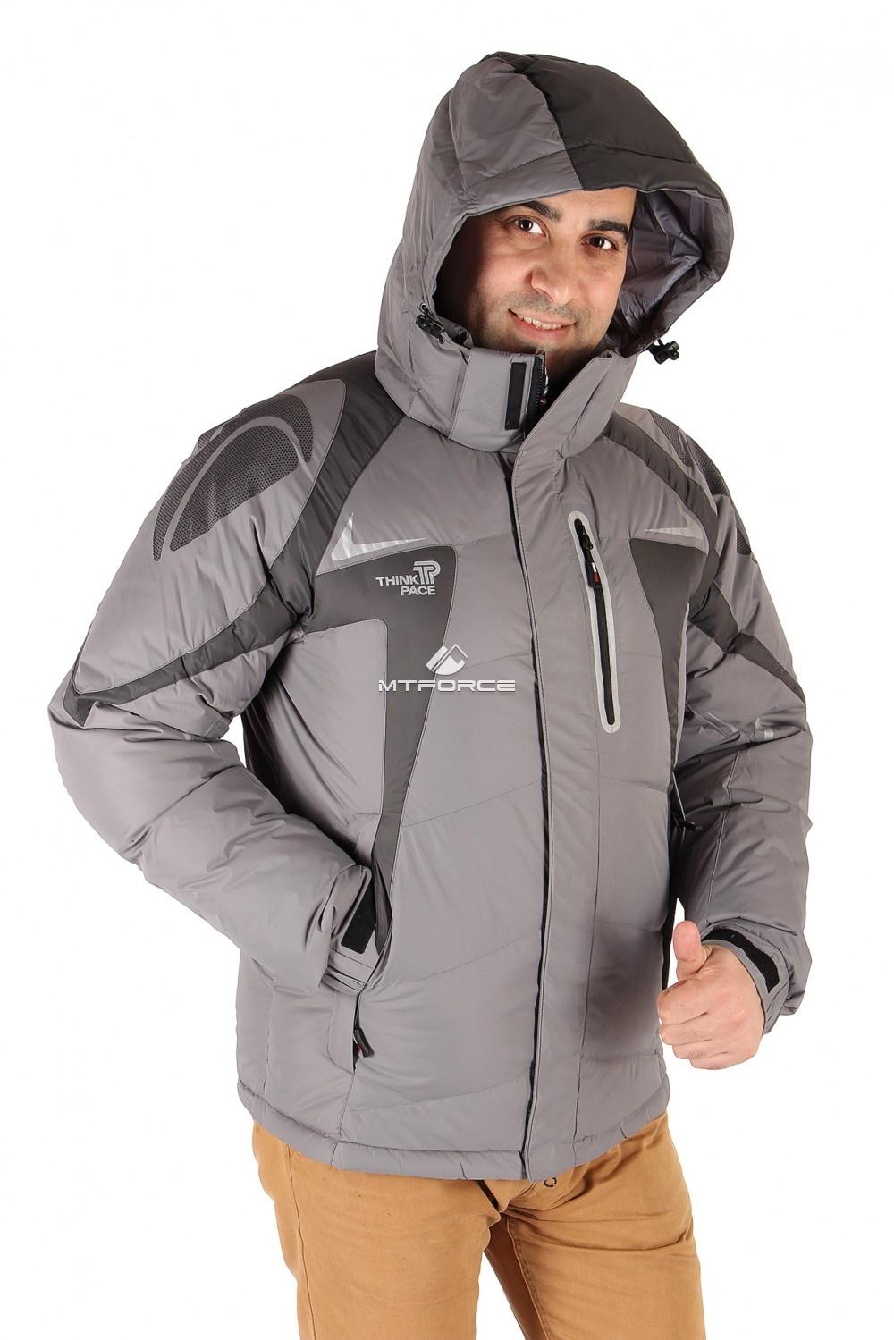 Купить оптом Куртка пуховик мужская серого цвета 9663Sr в Челябинске
