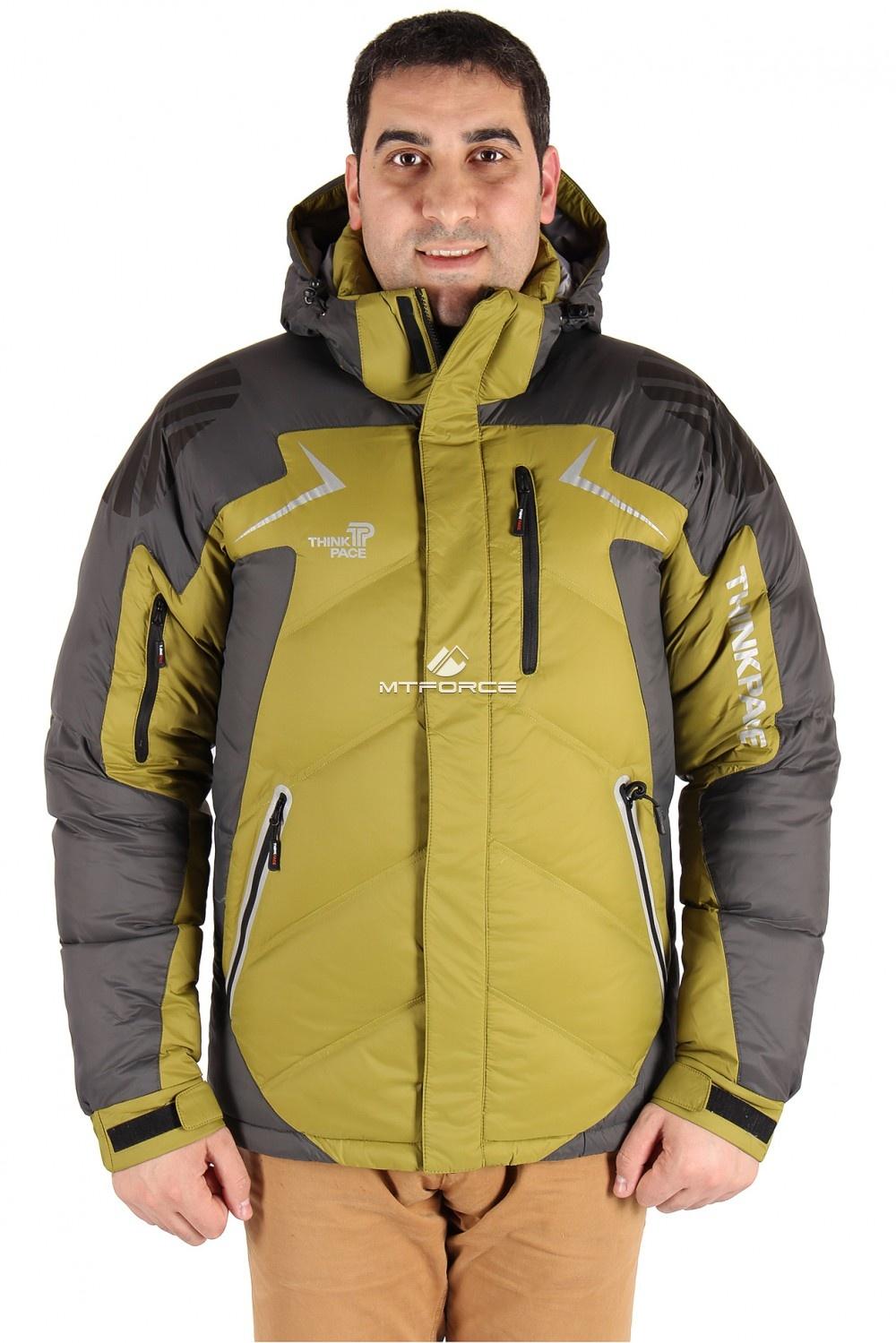 Купить оптом Куртка пуховик мужская болотного цвета 9683Bt в Новосибирске