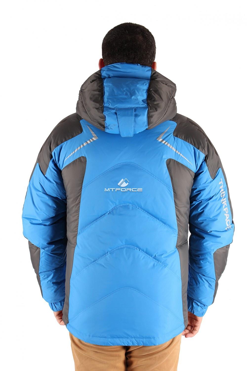 Купить оптом Куртка пуховик мужская синего цвета 9683S в  Красноярске