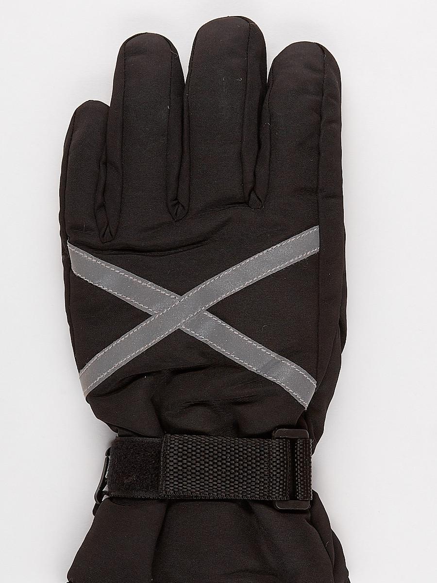 Купить оптом Перчатка горнолыжная зимняя мужская черного цвета  973Ch в Новосибирске