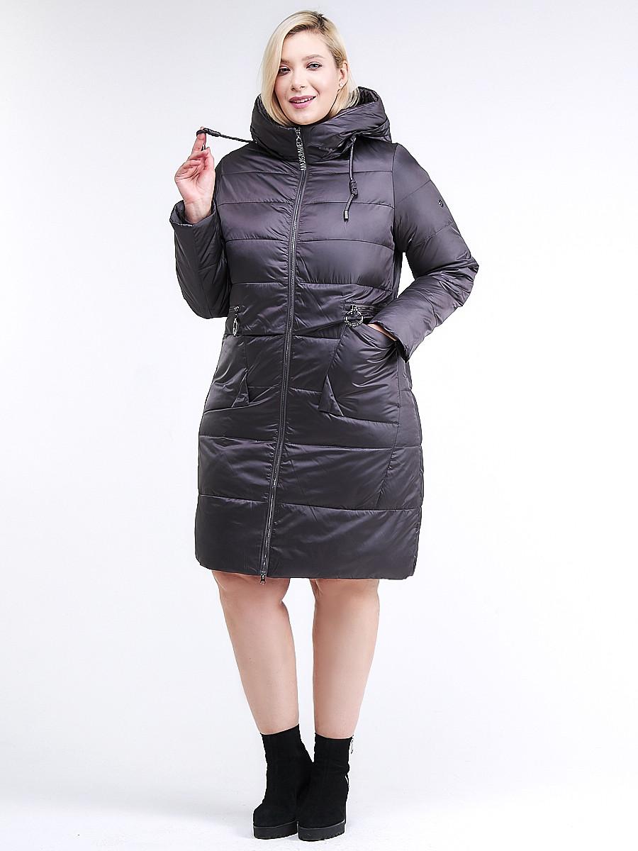 Купить оптом Куртка зимняя женская классическая темно-серого цвета 98-920_58TC в  Красноярске