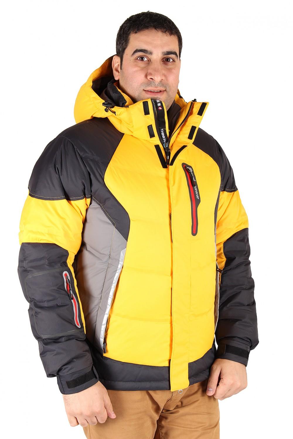 Купить оптом Куртка пуховик мужская желтого цвета 9855J в Самаре