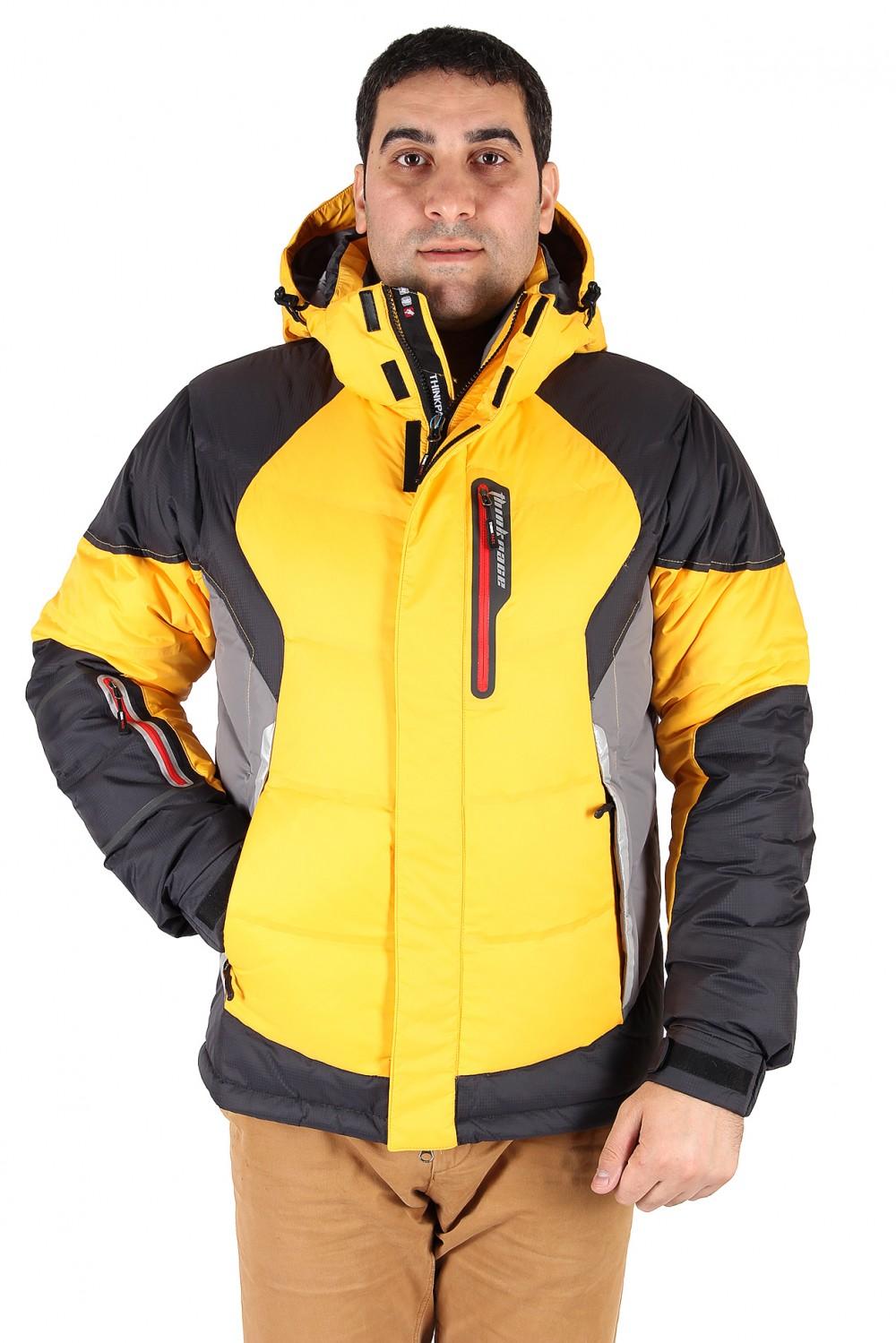 Купить оптом Куртка пуховик мужская желтого цвета 9855J в Сочи