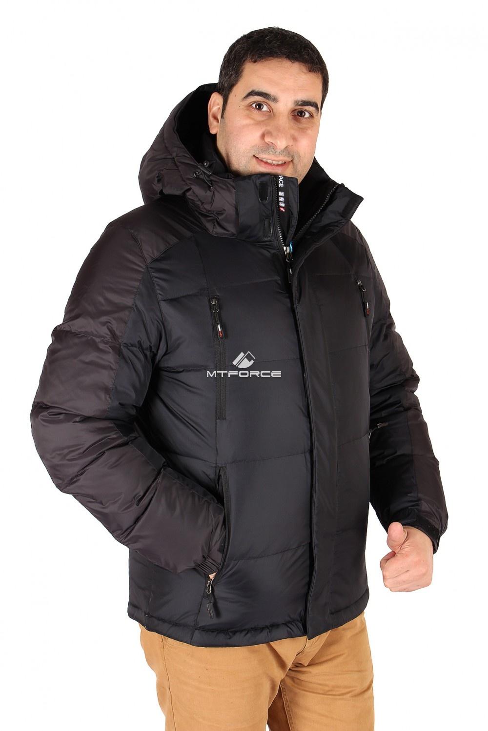 Купить оптом Куртка пуховик мужская черного цвета 9872Ch в Новосибирске