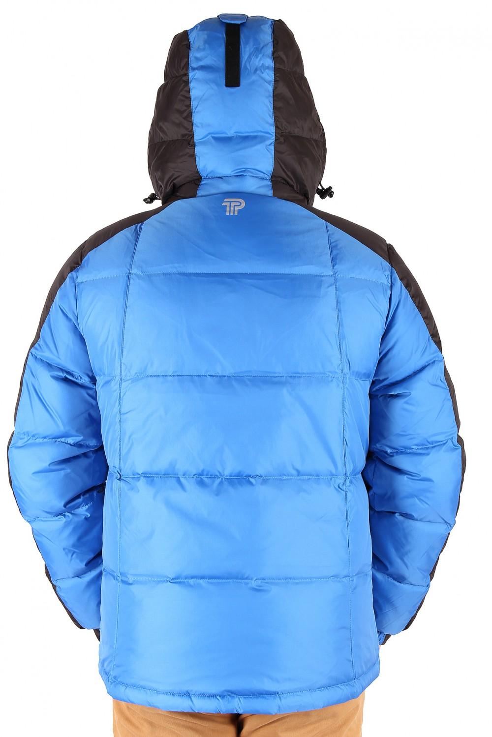 Купить оптом Куртка пуховик мужская синего цвета 9872S в Омске