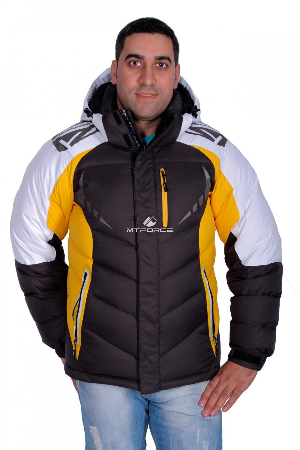 Купить оптом Куртка зимняя мужская желтого цвета 9942J в Новосибирске