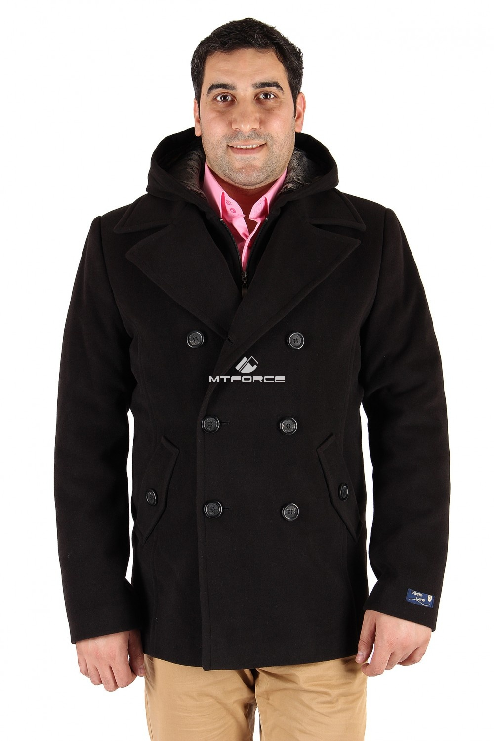 Купить оптом Полупальто мужское черного цвета ДКС-02Ch в Новосибирске