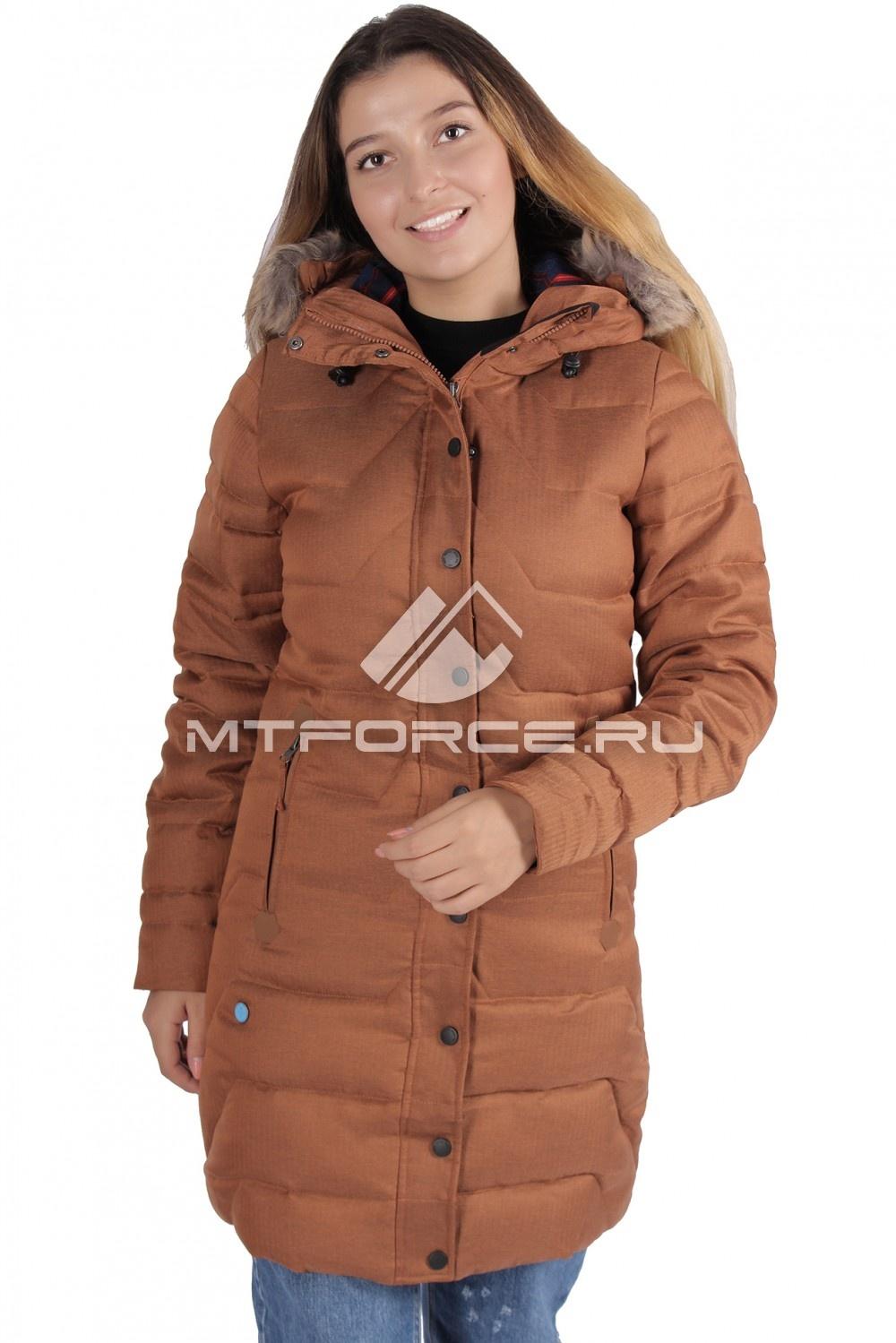 Купить                                  оптом Куртка зимняя женская коричневого цвета F01K