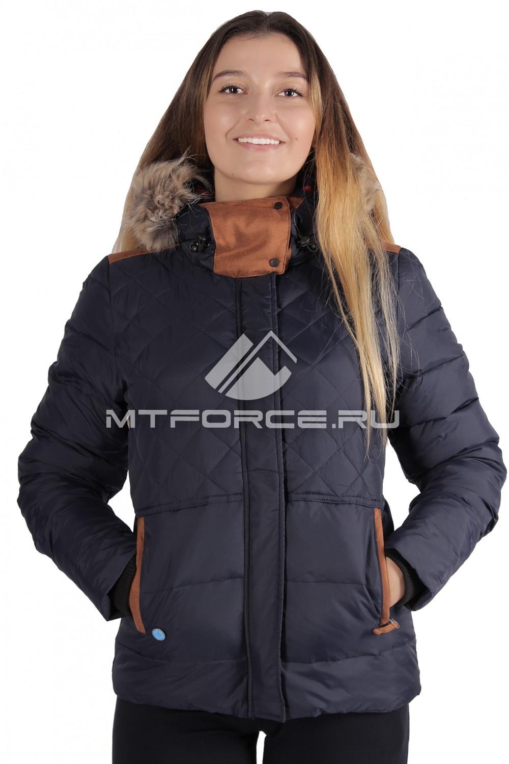 Купить оптом Куртка зимняя женская темно-синего цвета F02TS