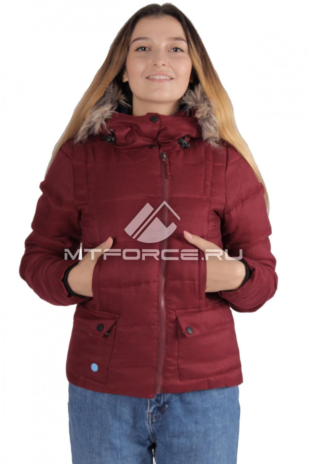 Купить                                  оптом Куртка зимняя женская бордового цвета F04Bo