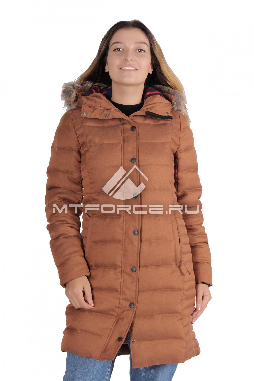 Купить                                  оптом Куртка зимняя женская коричневого цвета F05K