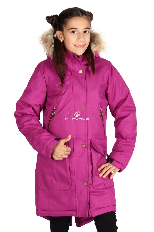 Купить оптом Куртка парка зимняя подростковая для девочки фиолетового цвета G61F в Новосибирске