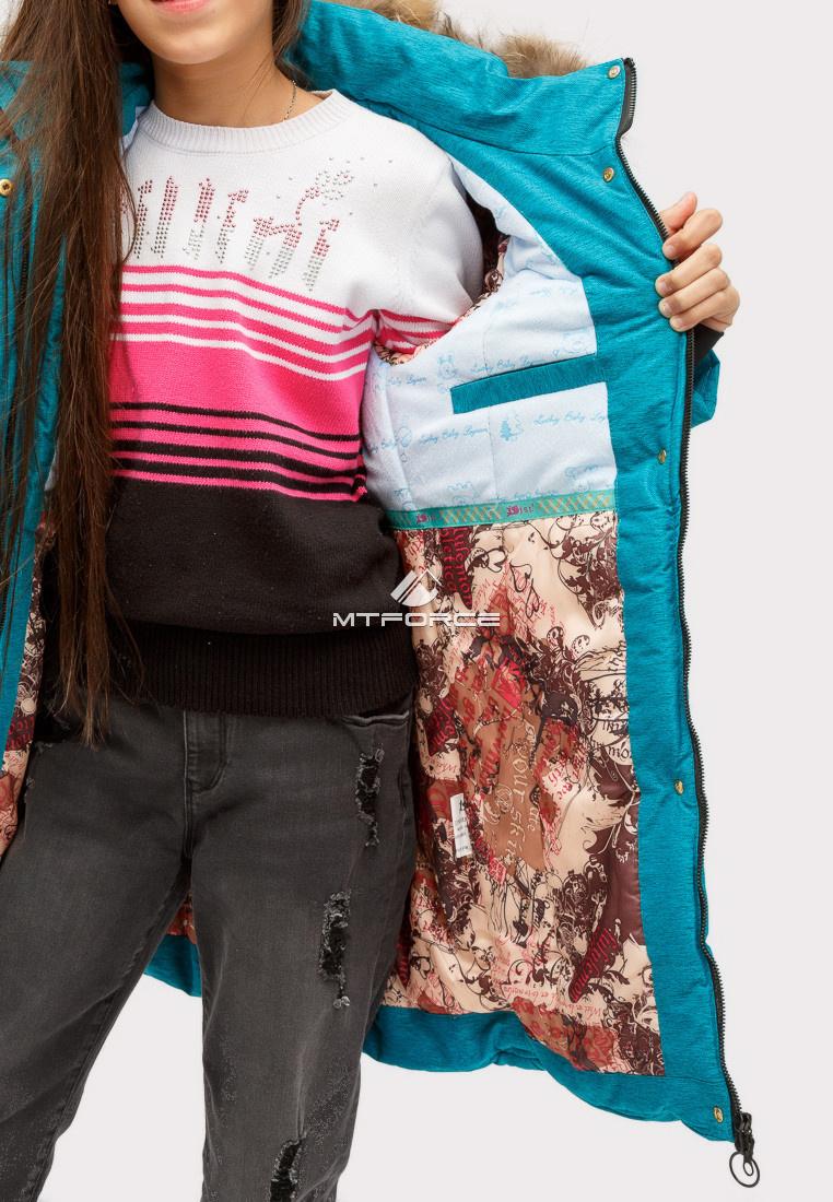Купить оптом Куртка парка зимняя подростковая для девочки бирюзового цвета HM-109Br