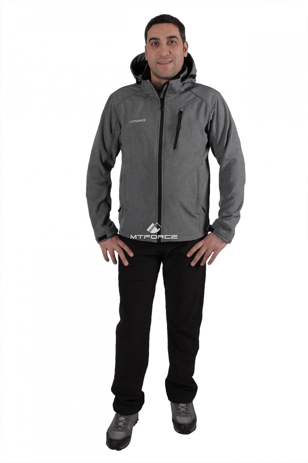Купить  оптом Костюм виндстопер мужской серого цвета  01732Sr
