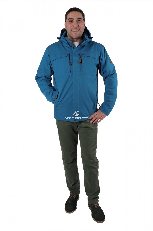 Купить оптом Куртка мужская осень весна синего цвета 1718-1S в Уфе